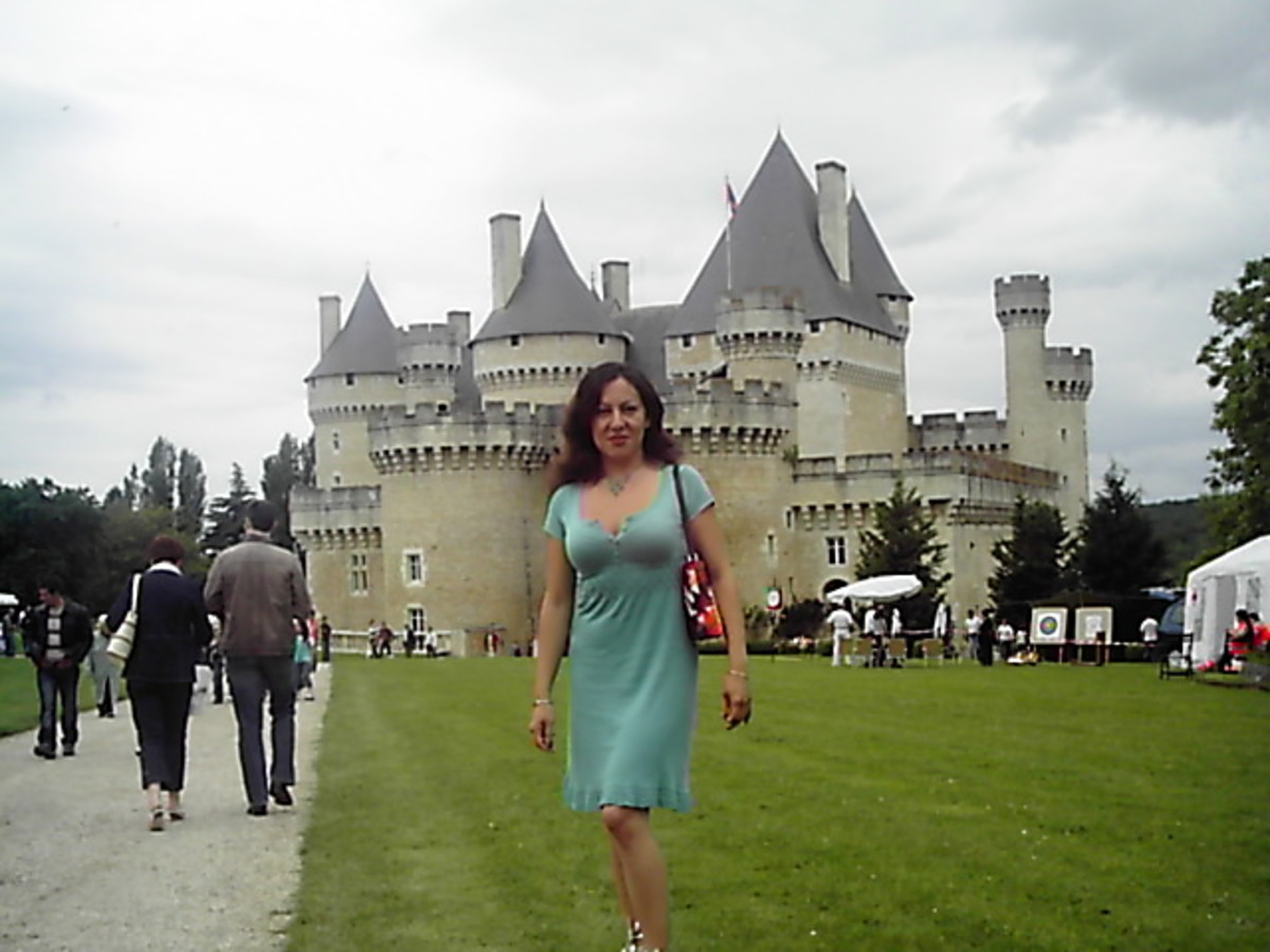 Me in front of the Chateau de Chabenet in Central France