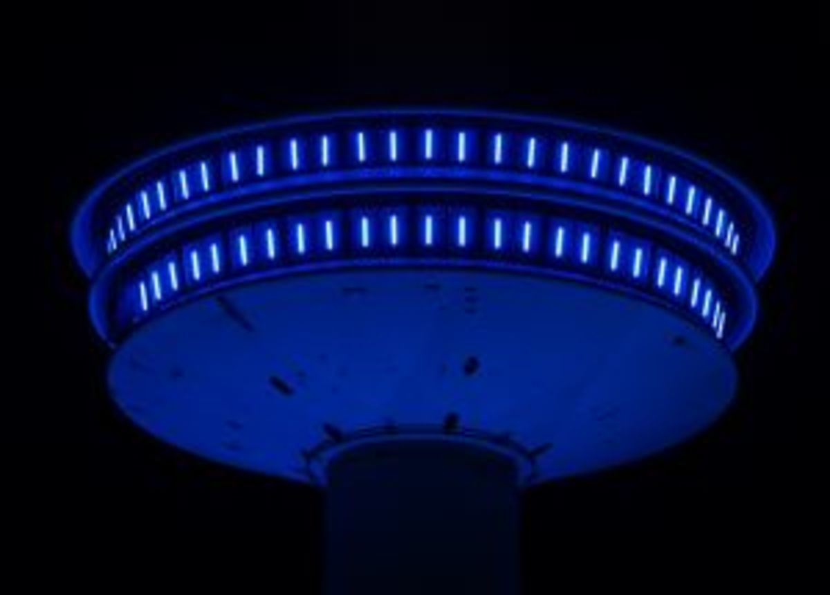 Not a UFO - Many UFO Sightings Result from Mistaking Commonplace Objects for Extraterrestrial Devices. This picture is actually of a tower lit up at night.