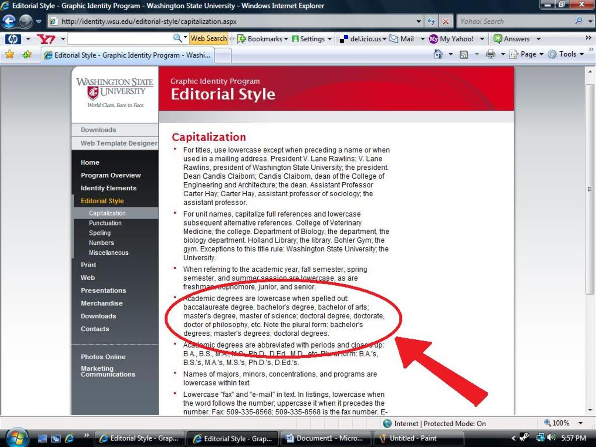 Heres a screenie of the Washington State University style page
