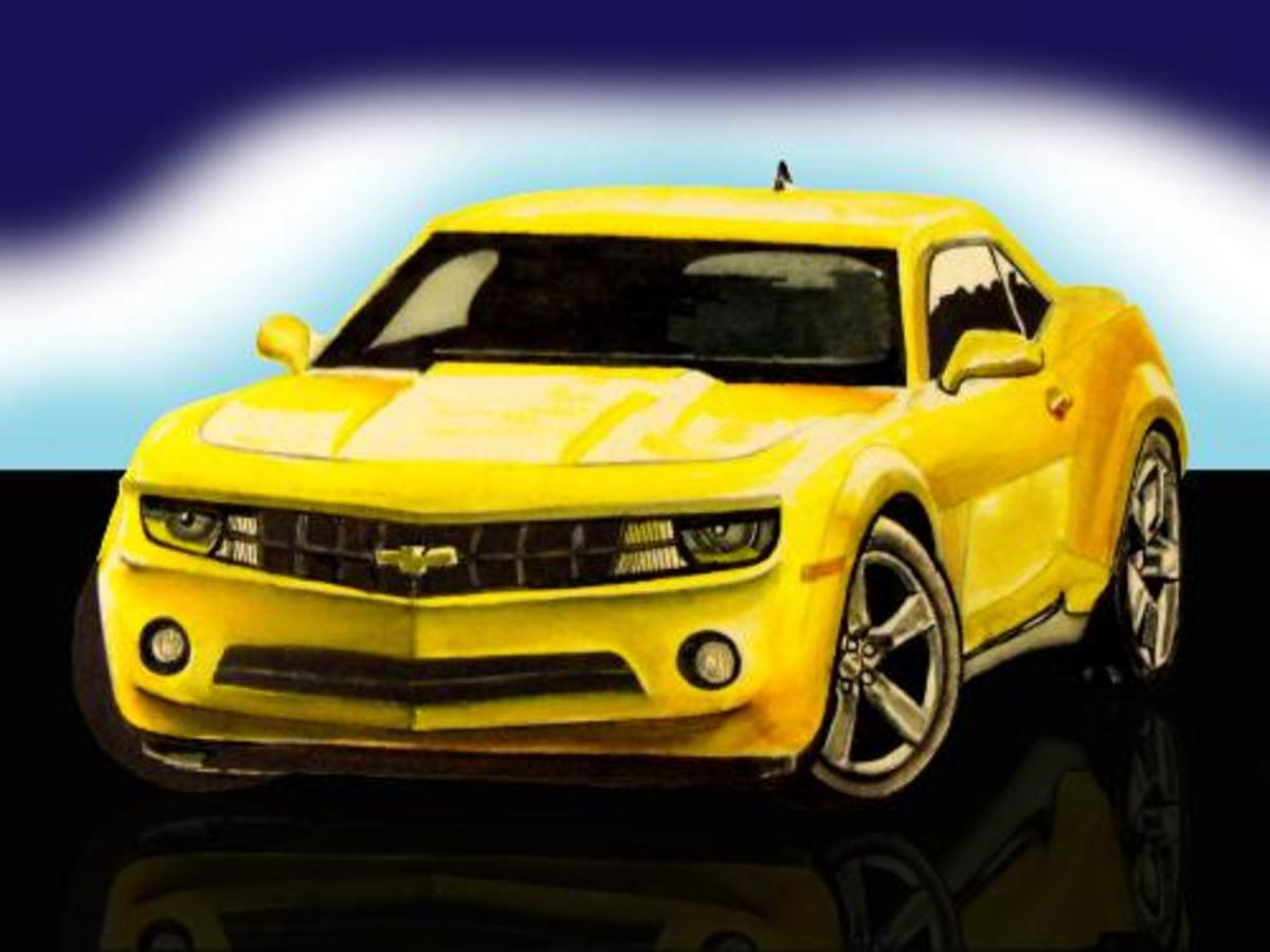 Car Drawing Camaro RS sports car