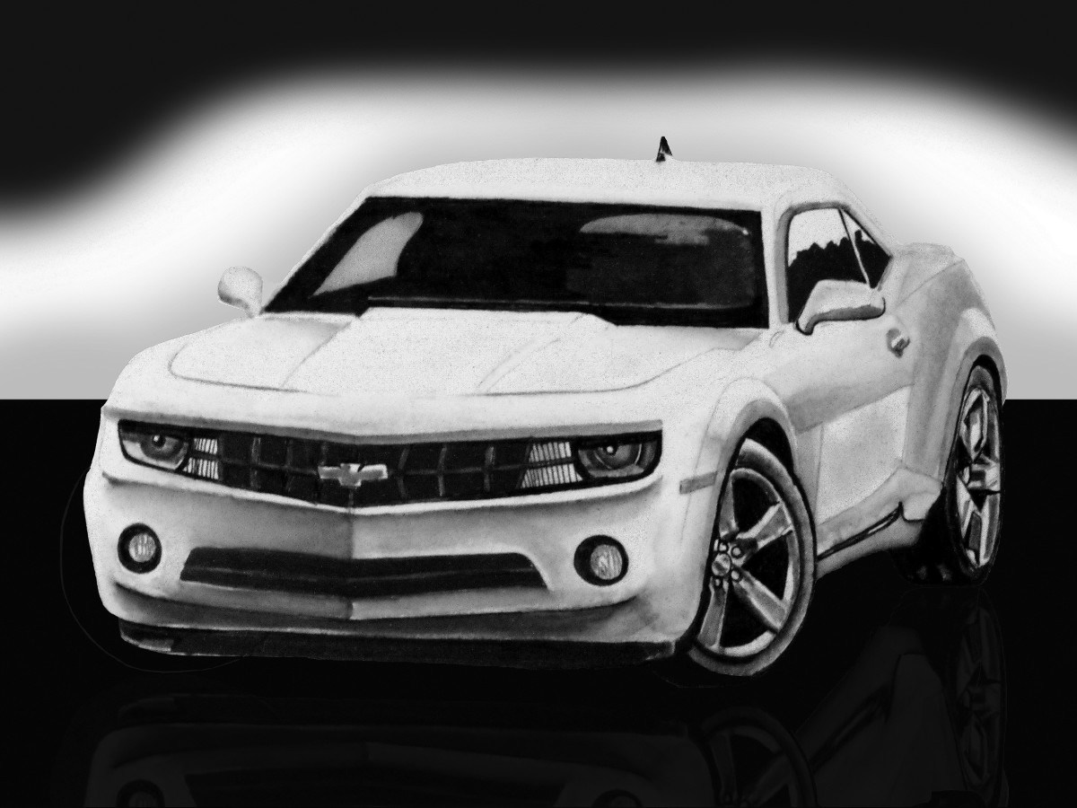 Camaro RS sports car 6.2 litre, V8. Car drawing that has been further manipulated with photo editing software for enhanced presentation purposes.
