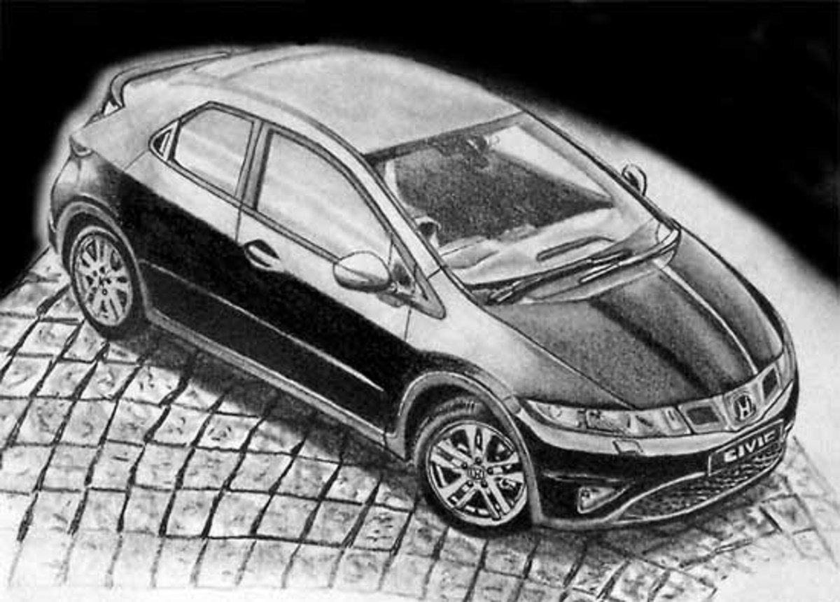Honda Civic Five Door 2009 drawn with graphite pencil that has given me an idea that car emblems are interesting and reflect the times.