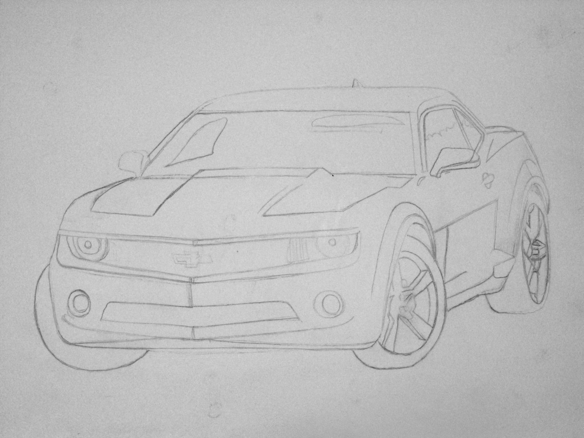 Camaro tracing in pencil.