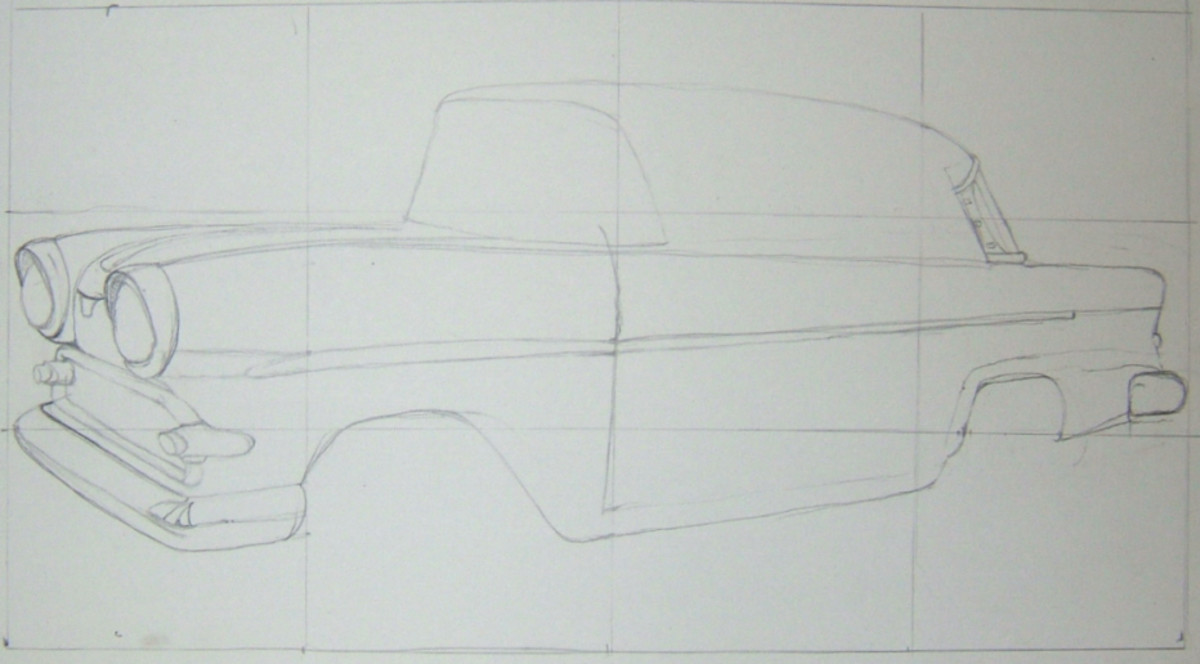 The car is now begging to take shape with more of the outline in place.