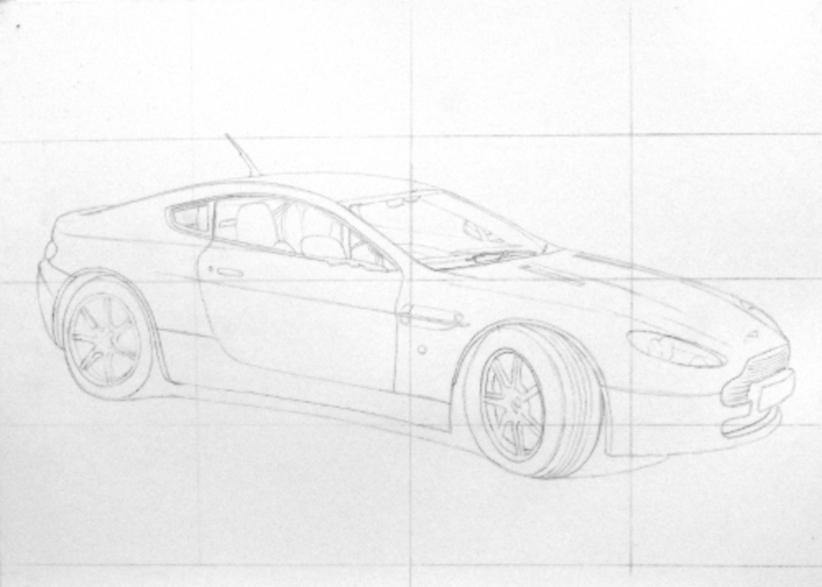 How to draw cars, Aston Martin grid drawing construction.