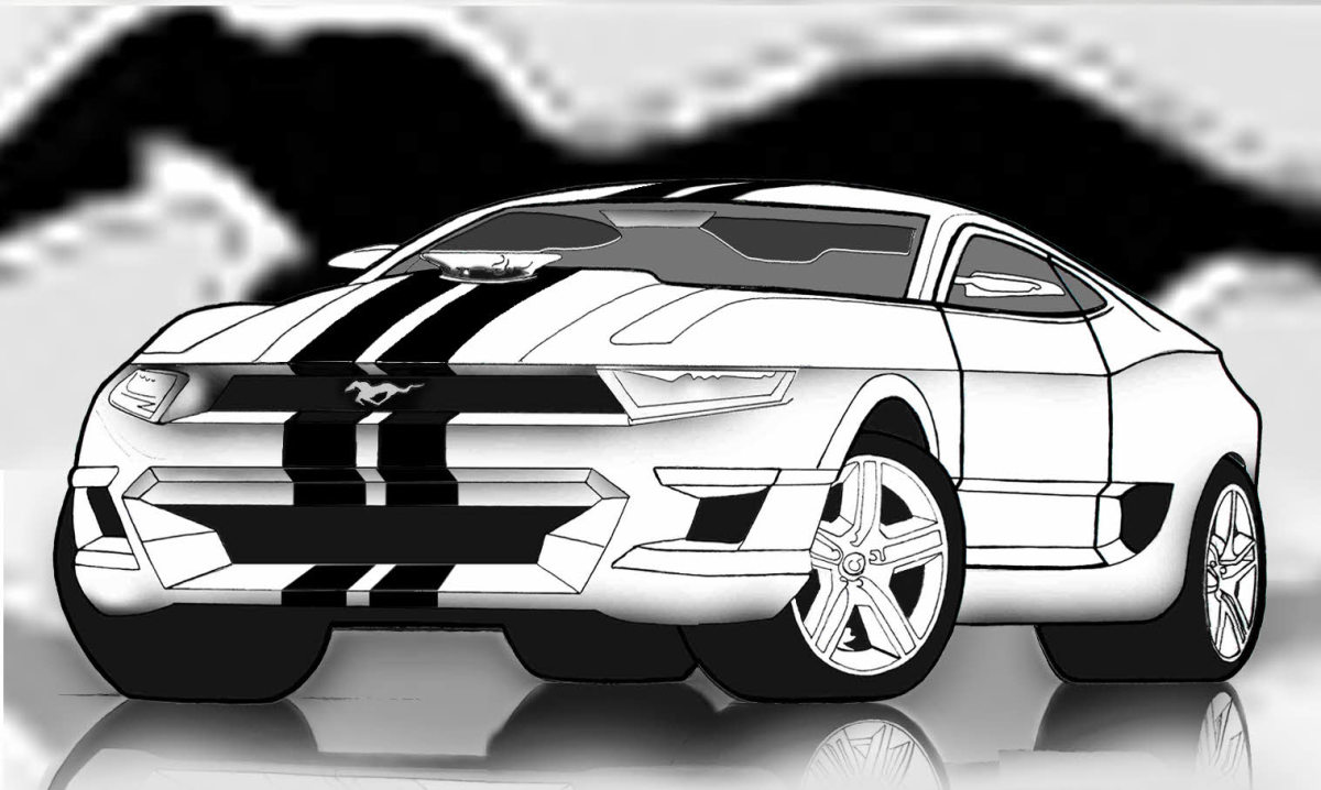 How to draw cars easy, concept car GT500 Ford Mustang made using a graphite pencil drawing and the photo editing software.