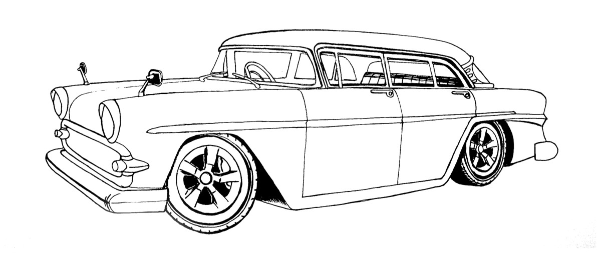 The customized Vauxhall Victor as a line drawing.
