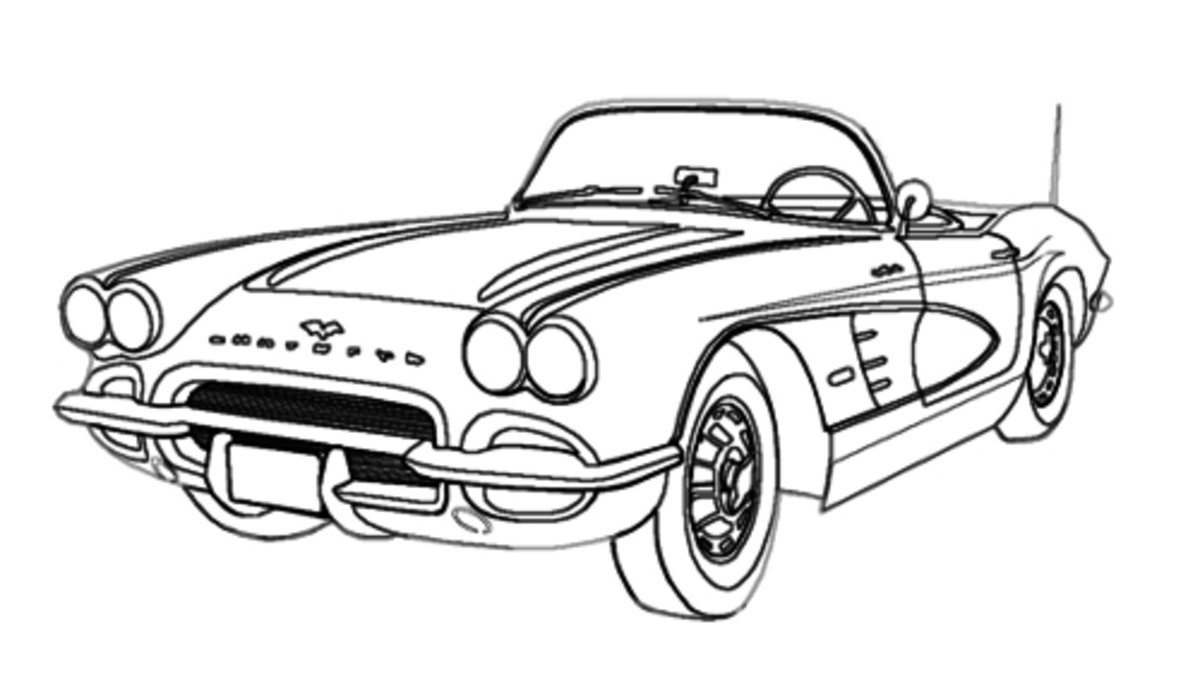 1960s CORVETTE CLASSIC CAR DIGITAL LINE DRAWING