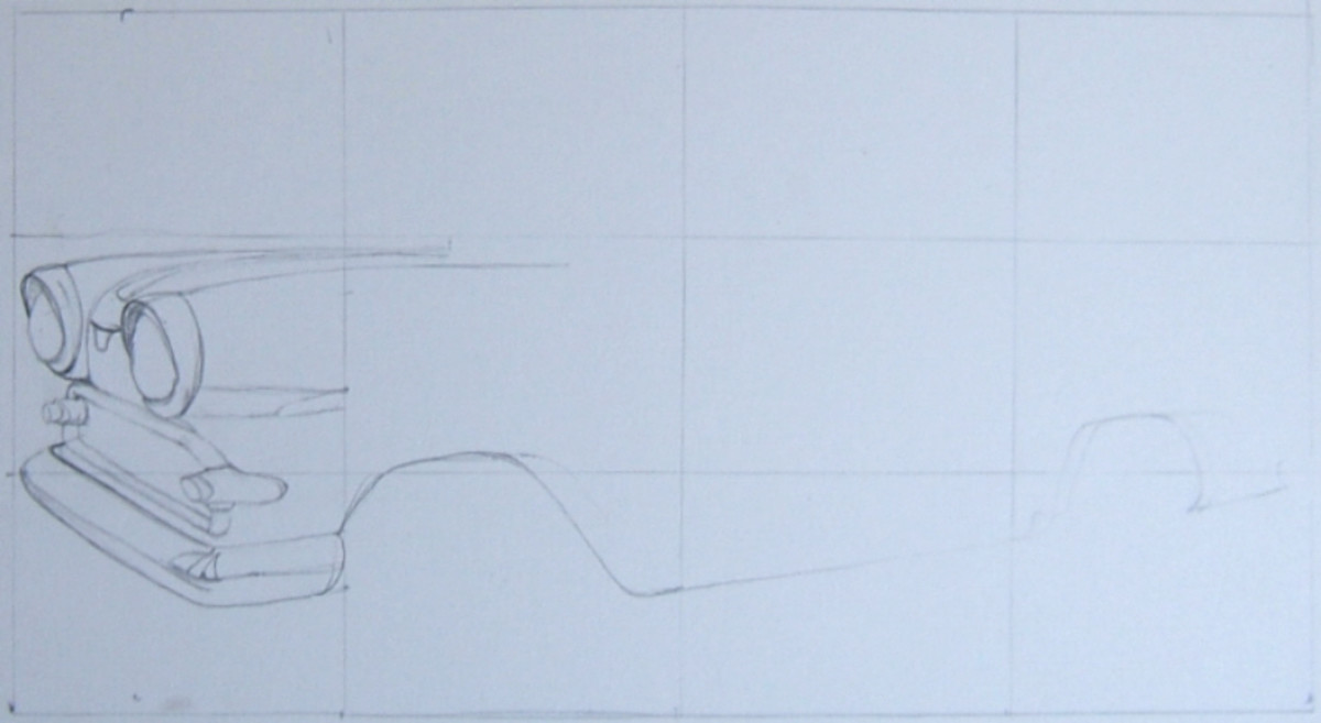 The first parts of the grid line drawing have been put into place.