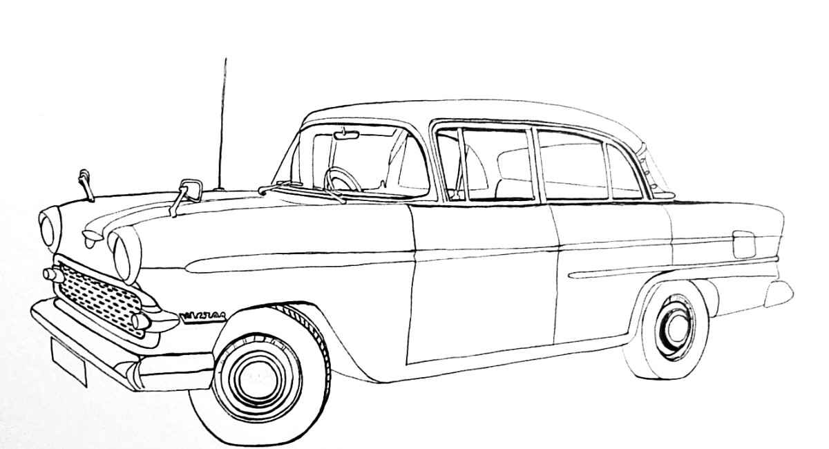 Line drawing of the above classic car ready for shading or coloring.