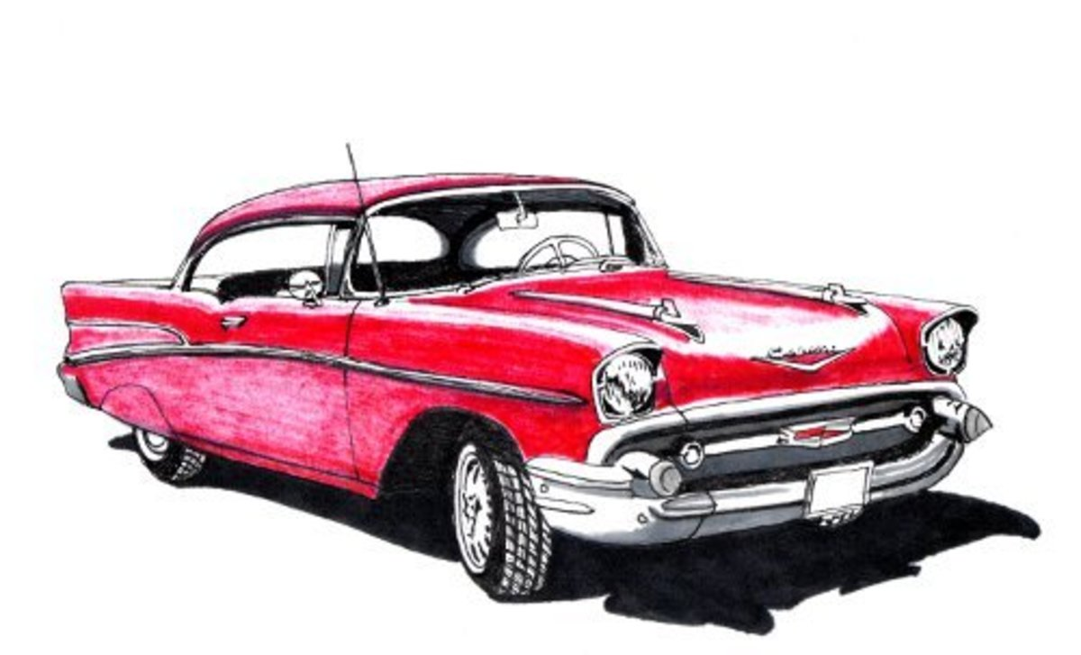 1950s Chevy Bel Air Drawing Red