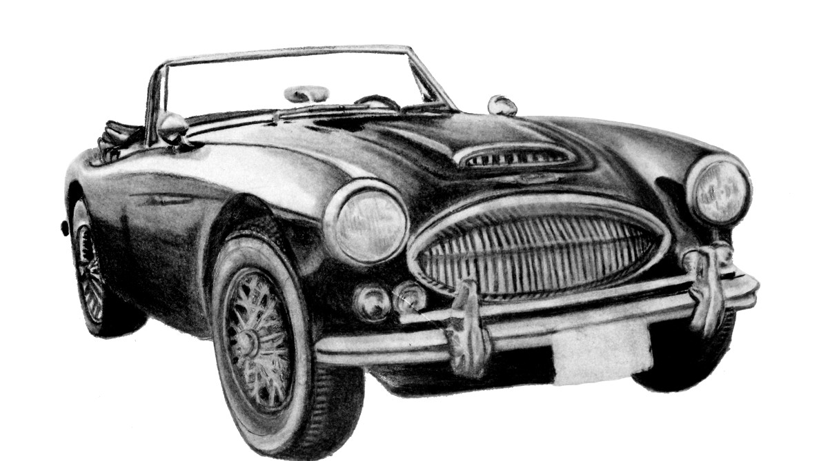 1967 Austin Healey 3000 Mk III, charcoal pencil drawing.