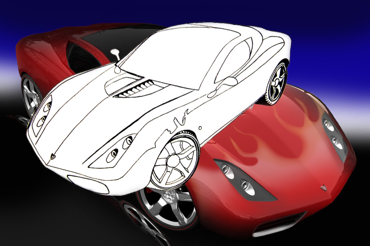 Corvette Stingray Supercar Line drawing in pen and ink