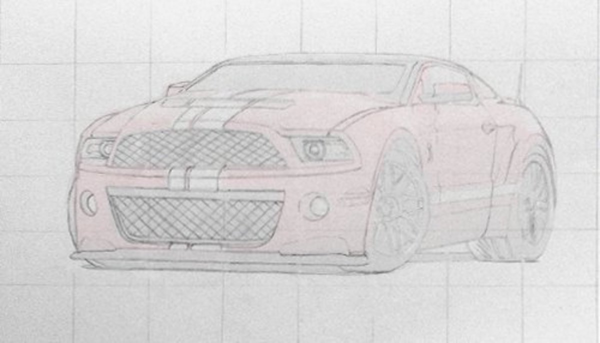 Grid drawing of a concept car. Mustang Red Rod Concept, drawing of a car.