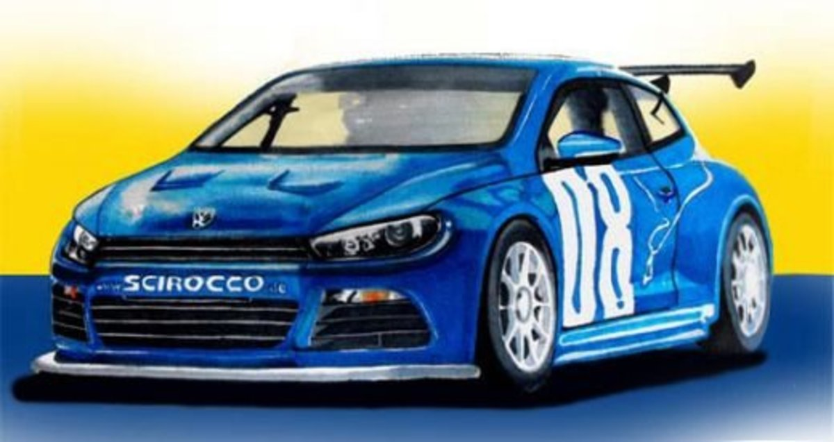 Volkswagen Scirocco GT24 Concept Car drawing, drawn with marker pens.