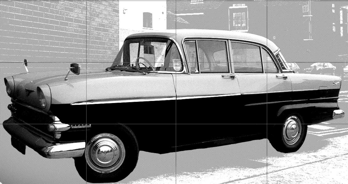 The 1950s Vauxhall Victor classic car restored to it's former glory with grid lines for drawing.