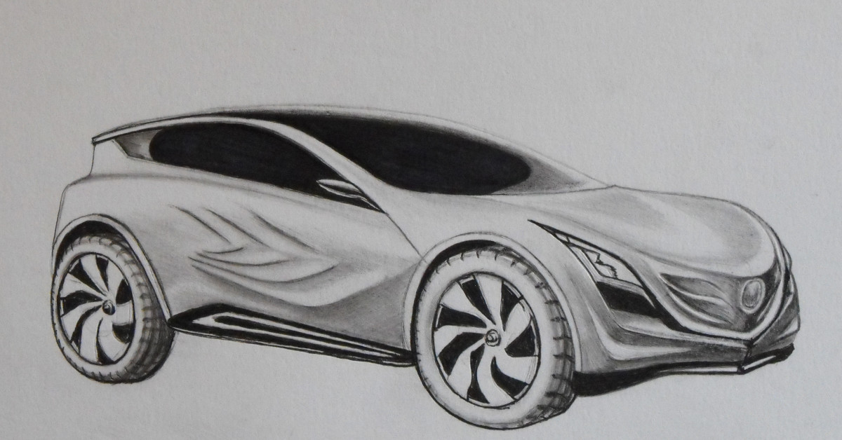 Mazda concept car drawing in pencil and pen.
