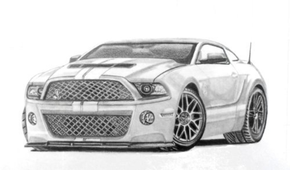 Mustang GT500 Hot Rod Mustang Hot Rod Concept car drawing.