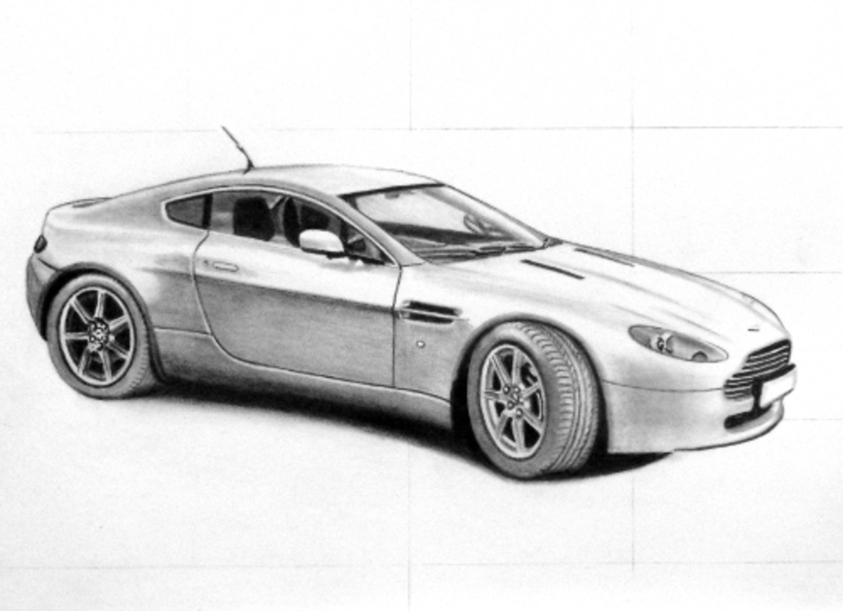 A step towards how to draw a car, video and example of an Aston Martin.