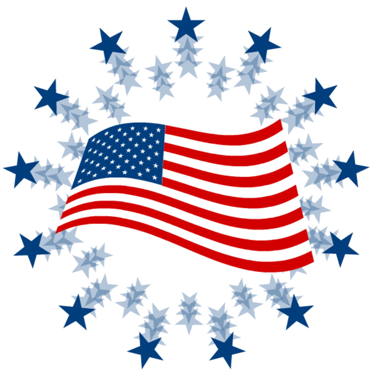 4th of July clip art: American flag and stars