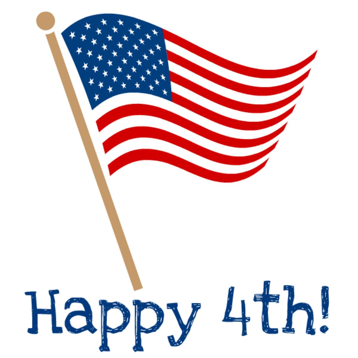 """July Fourth clip art: waving American flag """"Happy 4th!"""""""