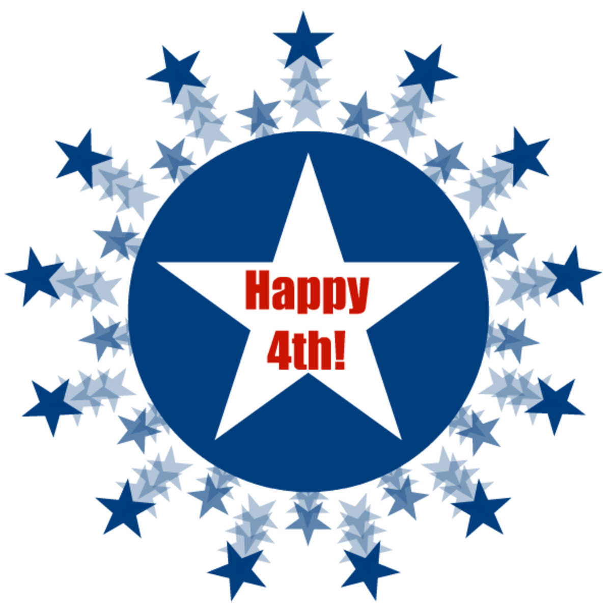 July 4th clipart: blue stars and circle