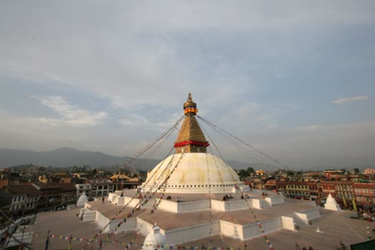 The monasteries near the stupa have become a global center of Tibetan Buddhism