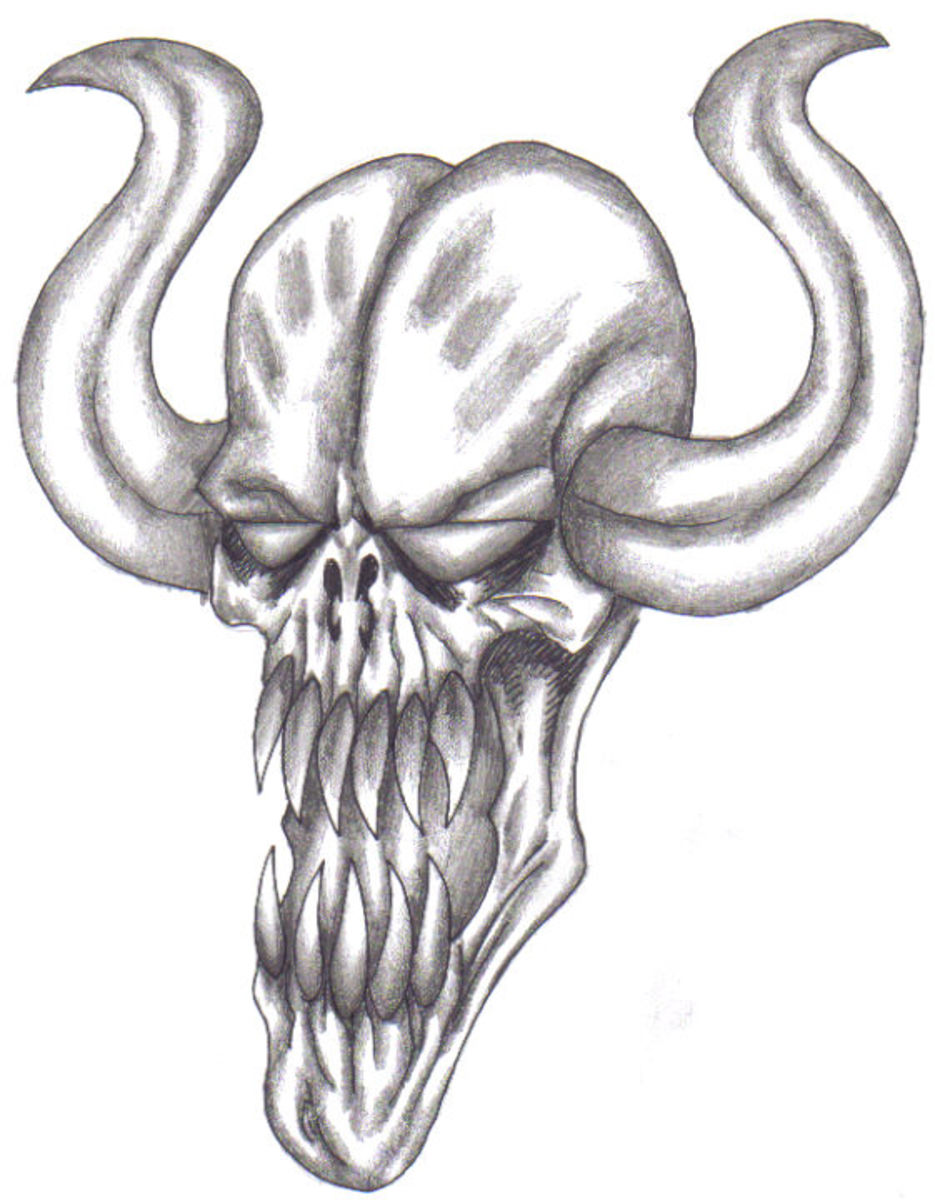 A fully finished demonic face drawing for your end result. By Wayne Tully Copyright  2010