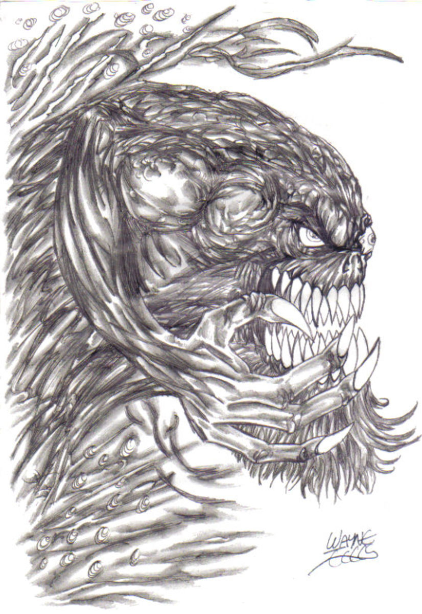 Evil demonic creature with a devilish goaty beard. By Wayne Tully Copyright  2010