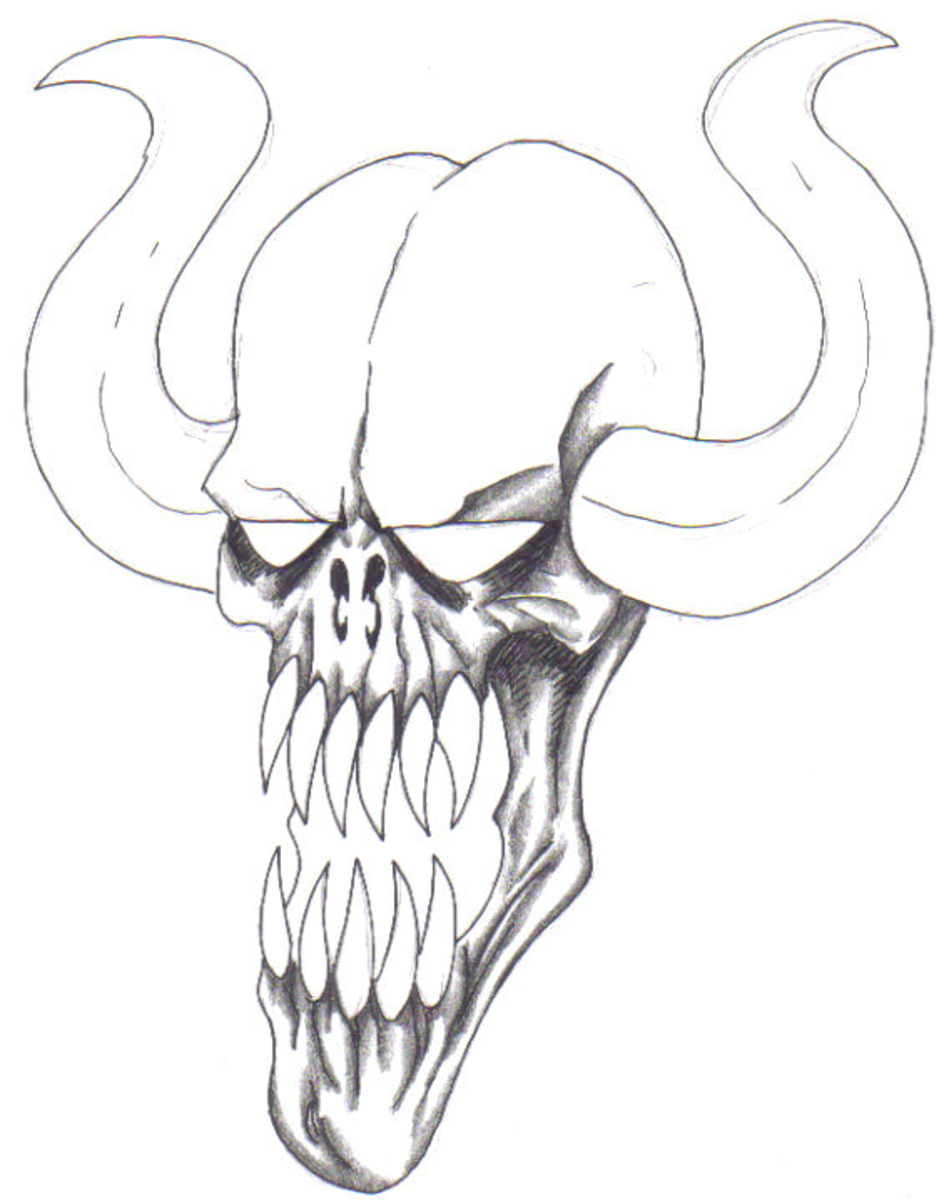 Demon Face With Shading.