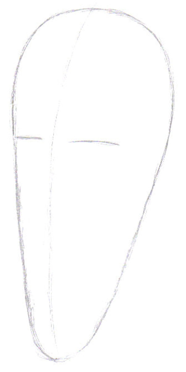 The first lines tell you which way the face is facing, so I decided to draw it side facing.