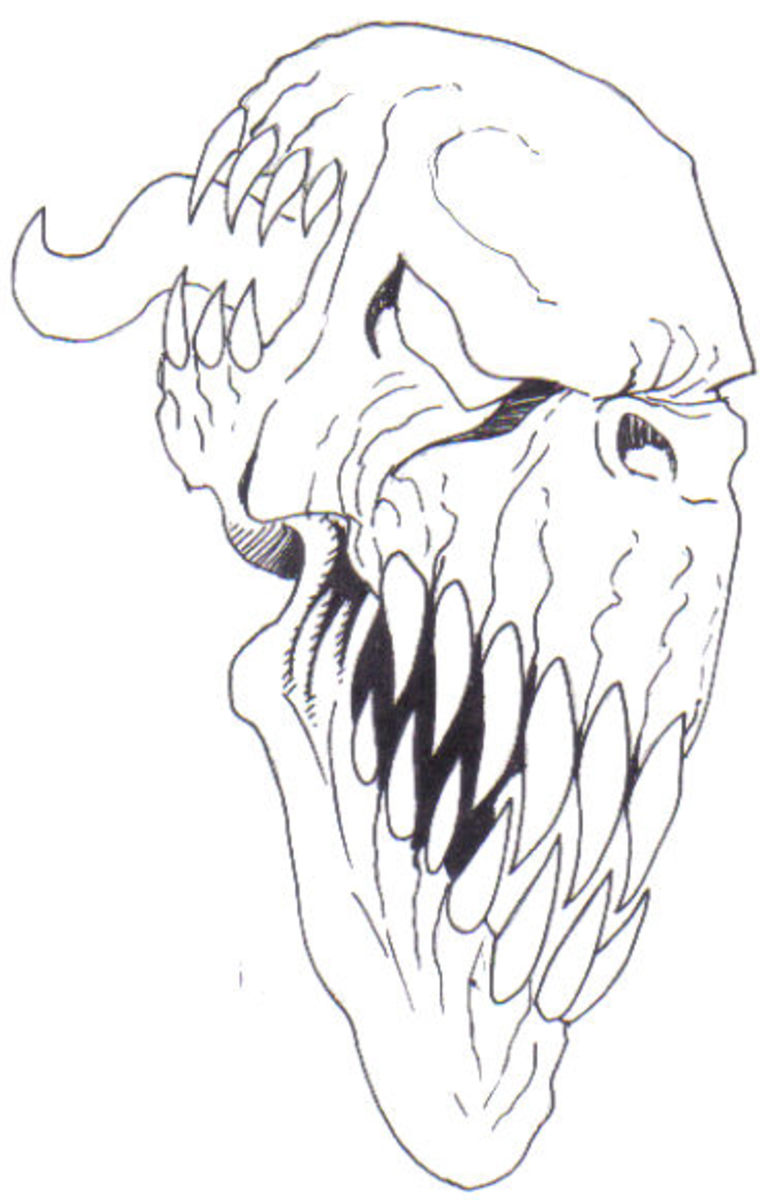 Demon line drawing of a demons face. By Wayne Tully Copyright  2010