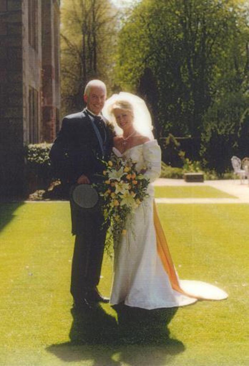 Edwardian style wedding gown custom made by Harman Hay, 1997