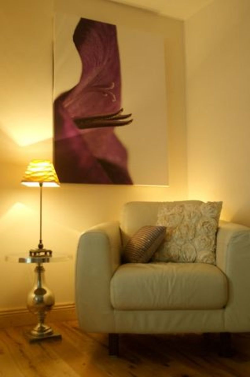 Strong purple wall art against neutrals