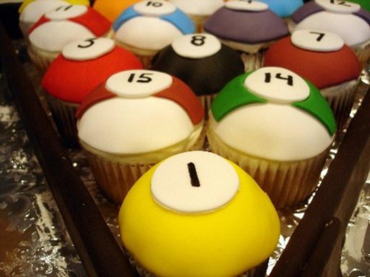 Cupcakes as pool balls