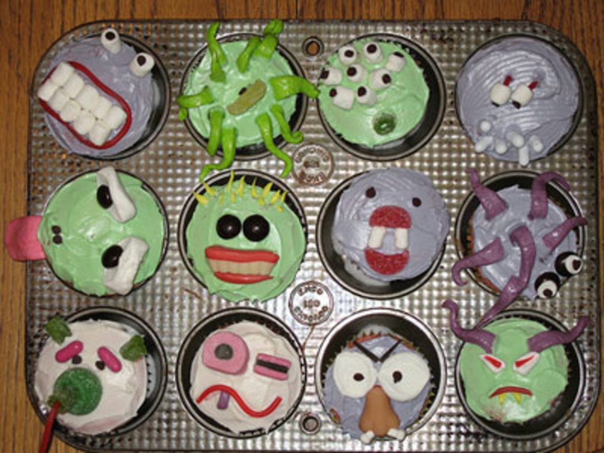 Tasty and creepy monster cupcakes