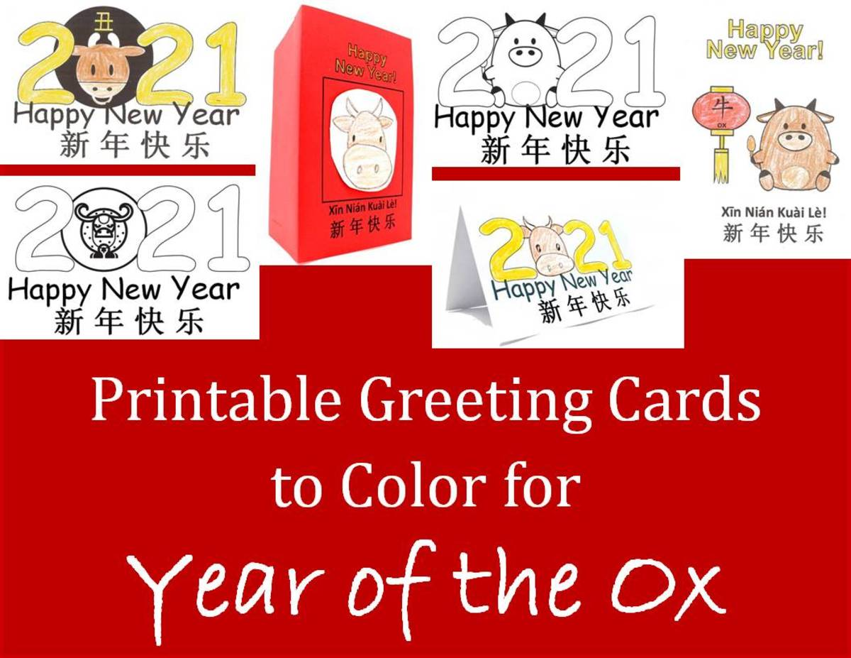 Printable Children's Craft Greeting Cards to Color for the Year of the Ox