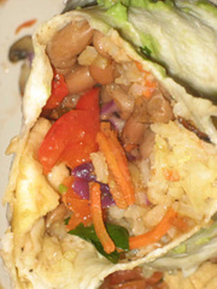 Up-close and personal with a Mission-style burrito.  This one looks veggie.