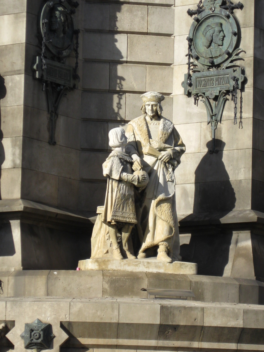 Vicente Yáñez Pinzón, Captain of the Niña during First Voyage of Columbus.  Sculpture at base of Columbus Monument in Barcelona, Spain.