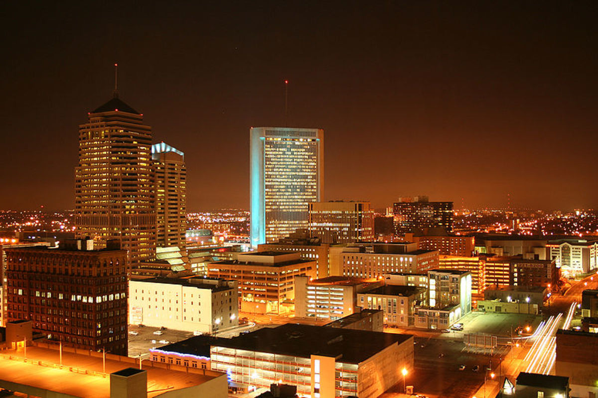Downtown at night.