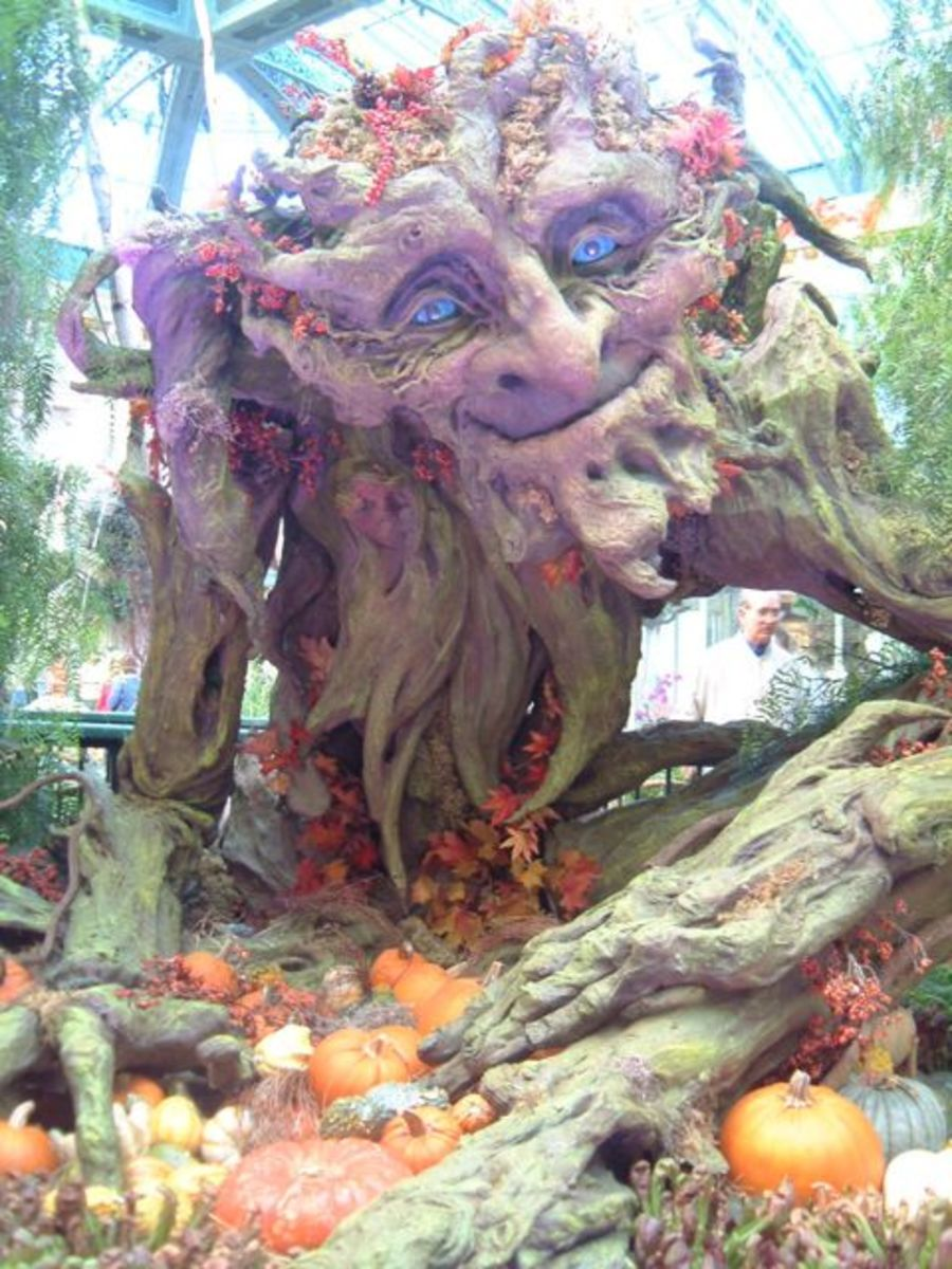 A living tree is a whimsical symbol of the GreenMan turned brown for autumn and Samhain.