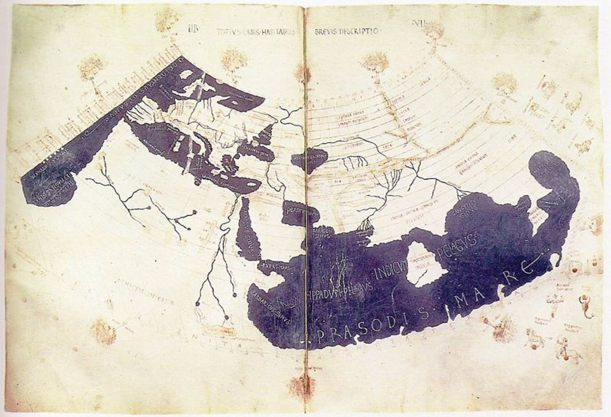 The Ptolemy World Map, 150 AD. This early pattern for the 1507 map was scrapped as a resource by the mapmaker.