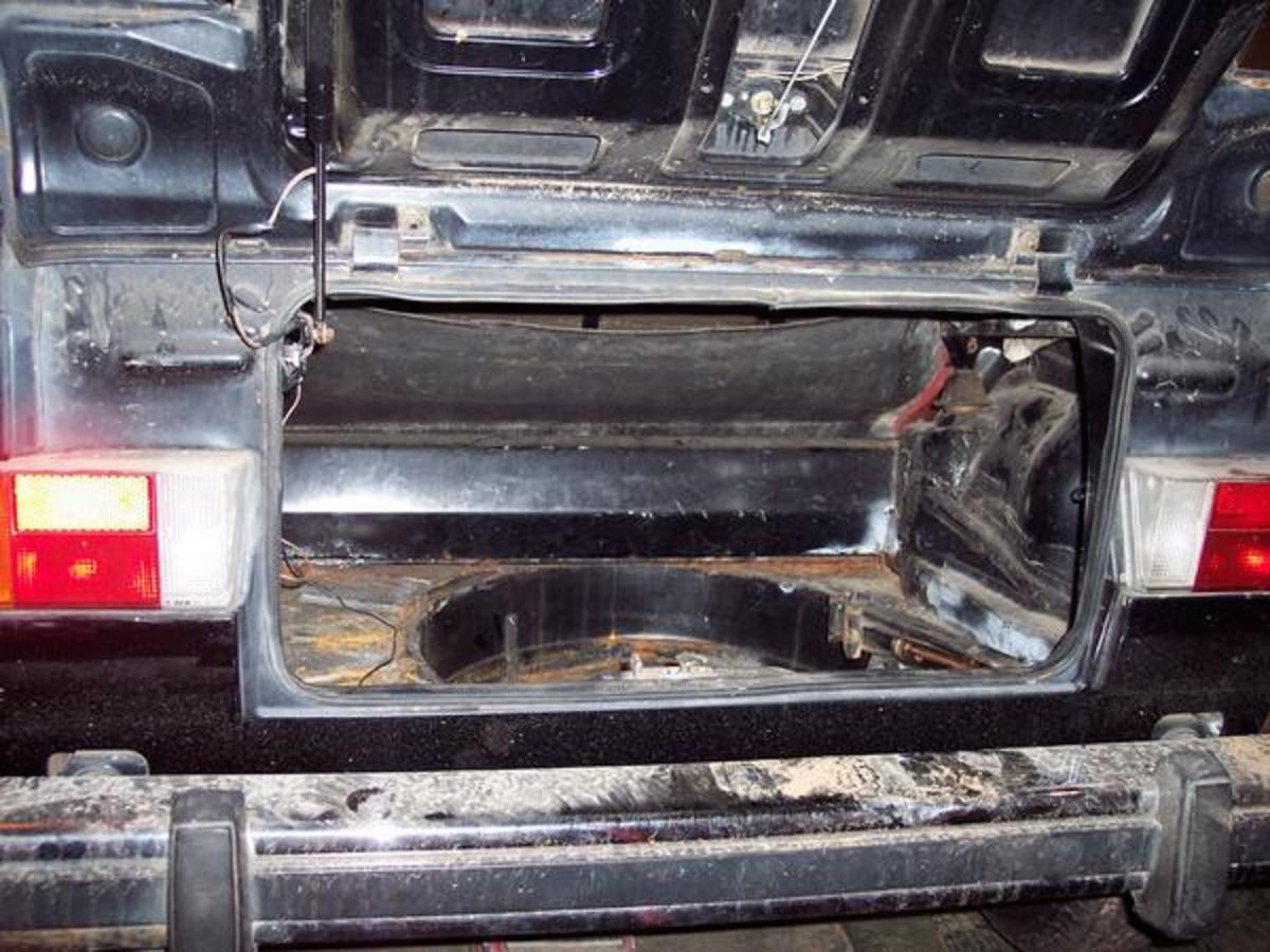Rusty, empty trunk space.
