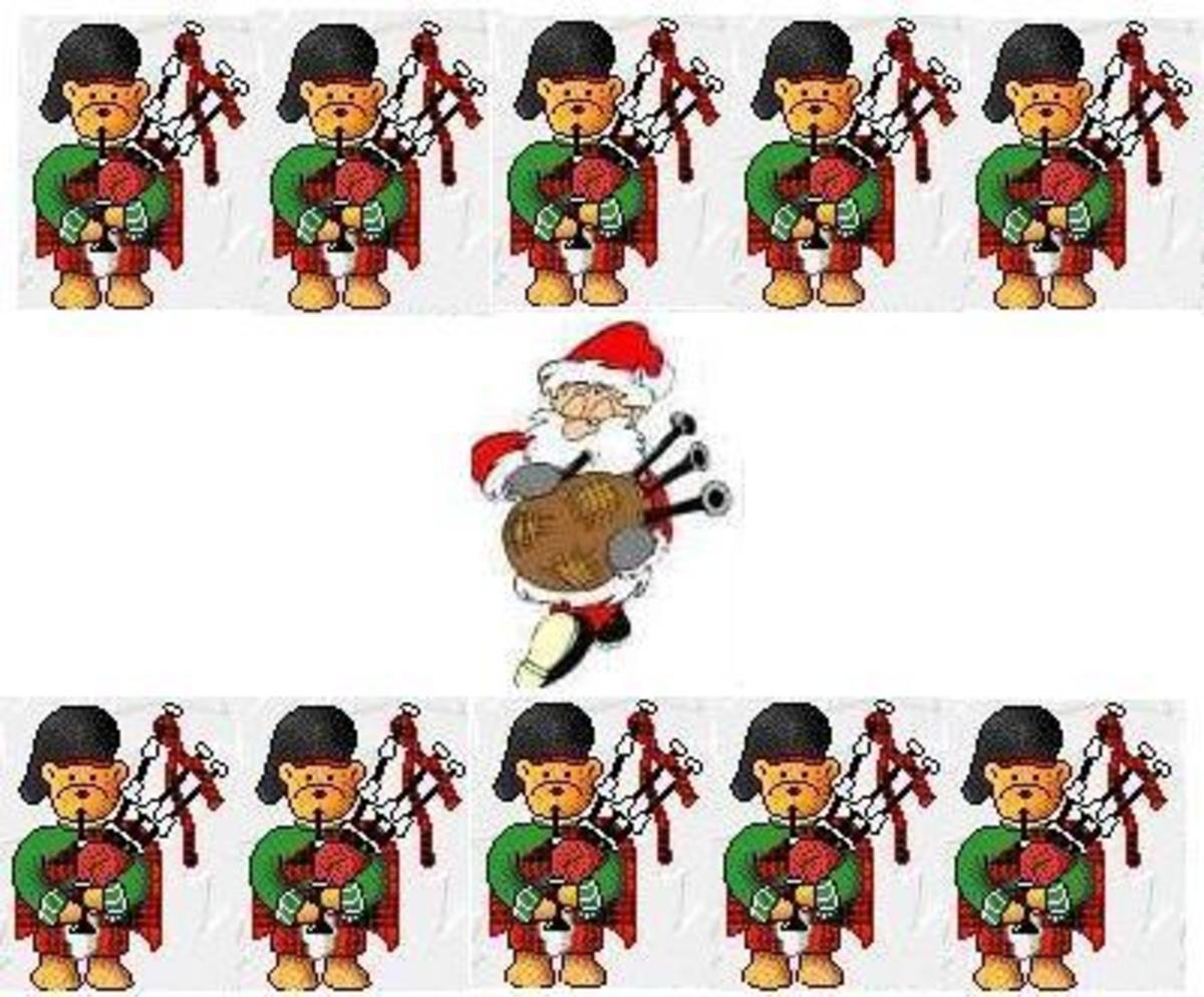 Eleven Pipers A-Piping