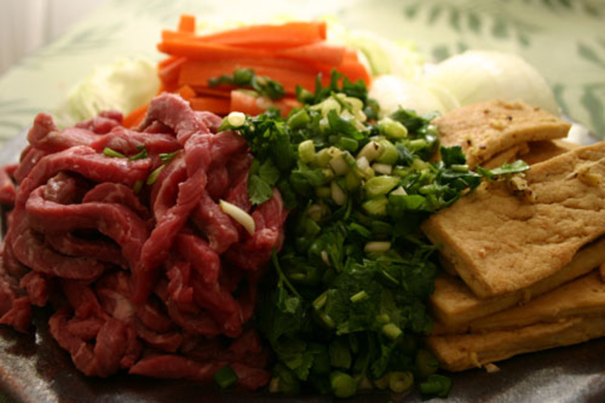 pre-cut ingredients for Mongolian barbecue