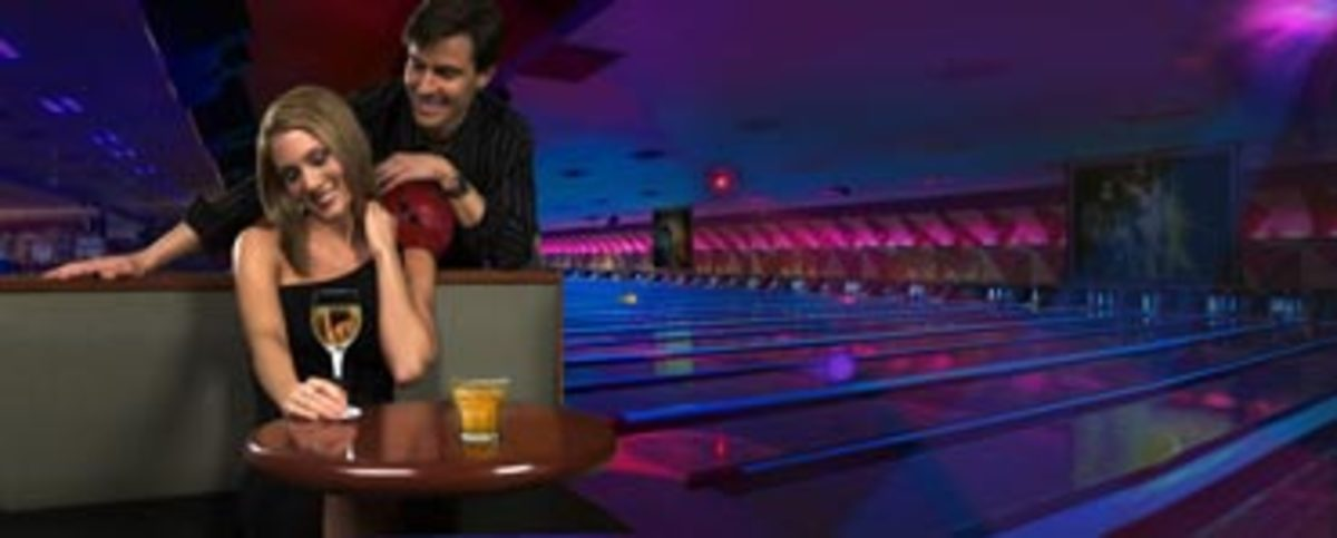 Glow-in-the-dark bowling at 300 New York sets the mood with it's intimate lighting