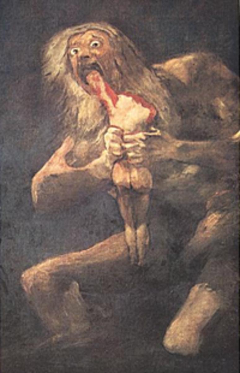 The monstrous Cronus eating his children.