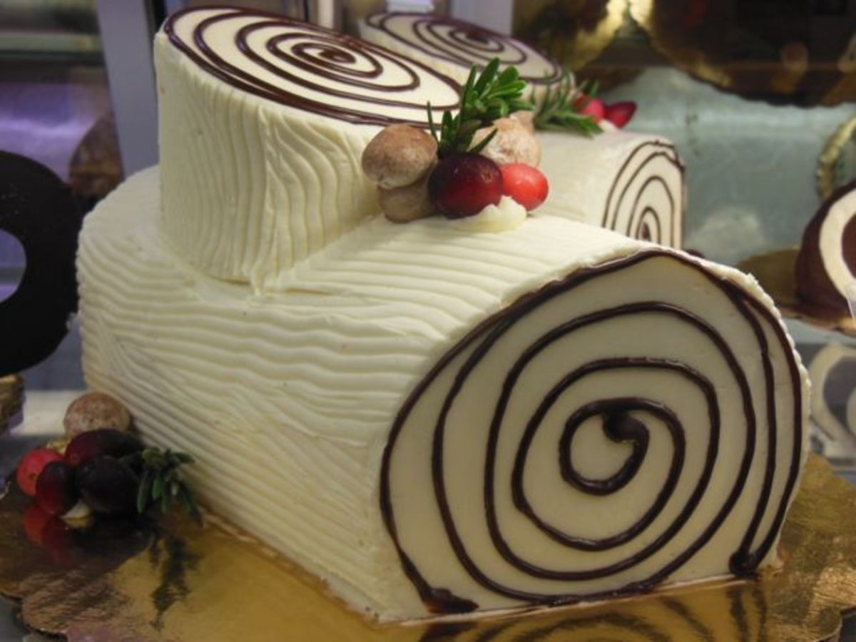 "A ""white bark"" yule log can be made from mocha or vanilla frosting.  Sprinkle the mushrooms with just a touch of cocoa to decorate their tops."