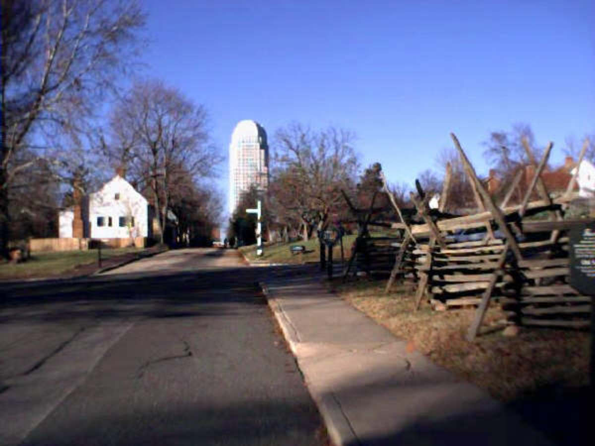 Historic Old Salem with Downtown in the Background