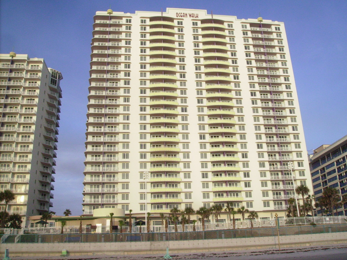High rise timeshare on the beach in Daytona Beach, Florida.